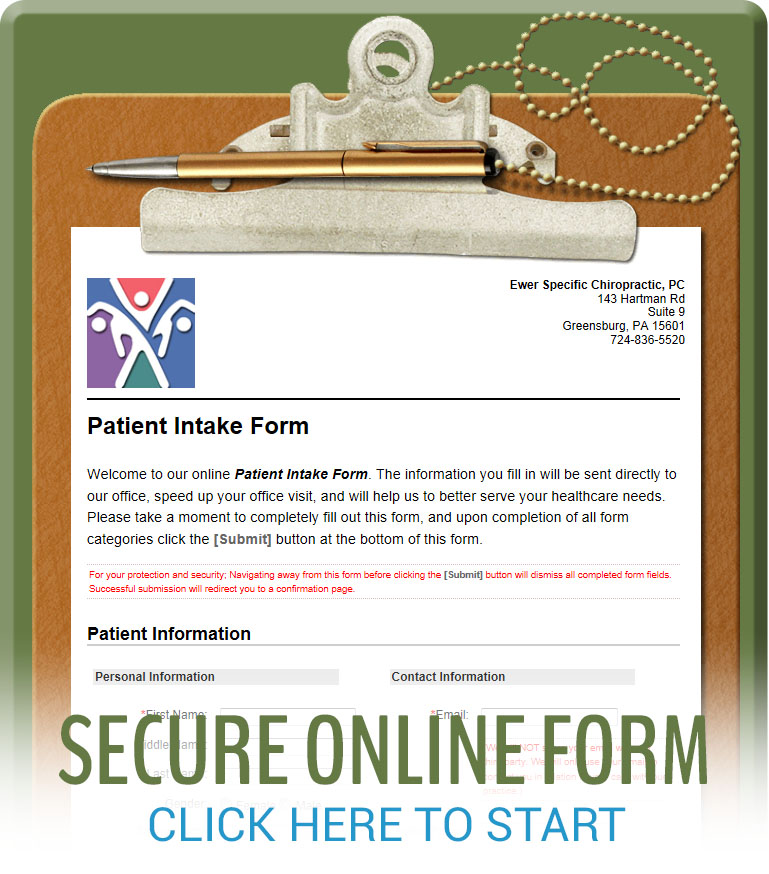 Online patient intake form.
